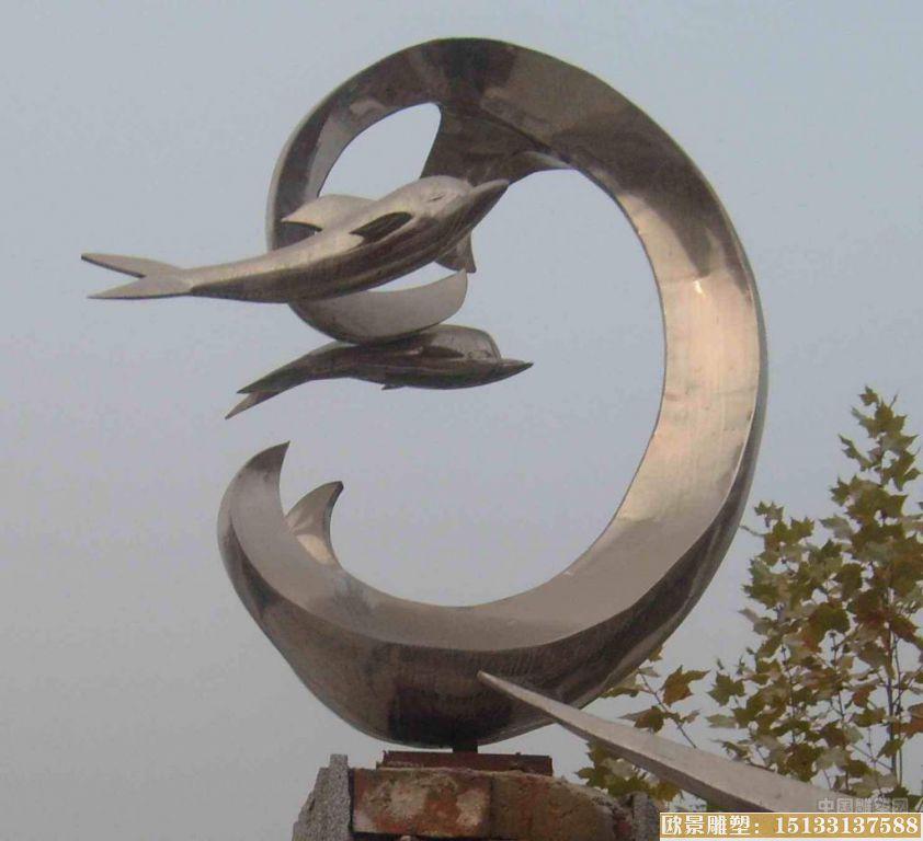 不锈钢广场海豚雕塑